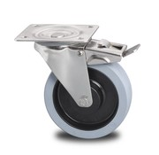 rueda giratoria con freno, Ø 200mm, gomma termoplastica grigia antitraccia, 400KG