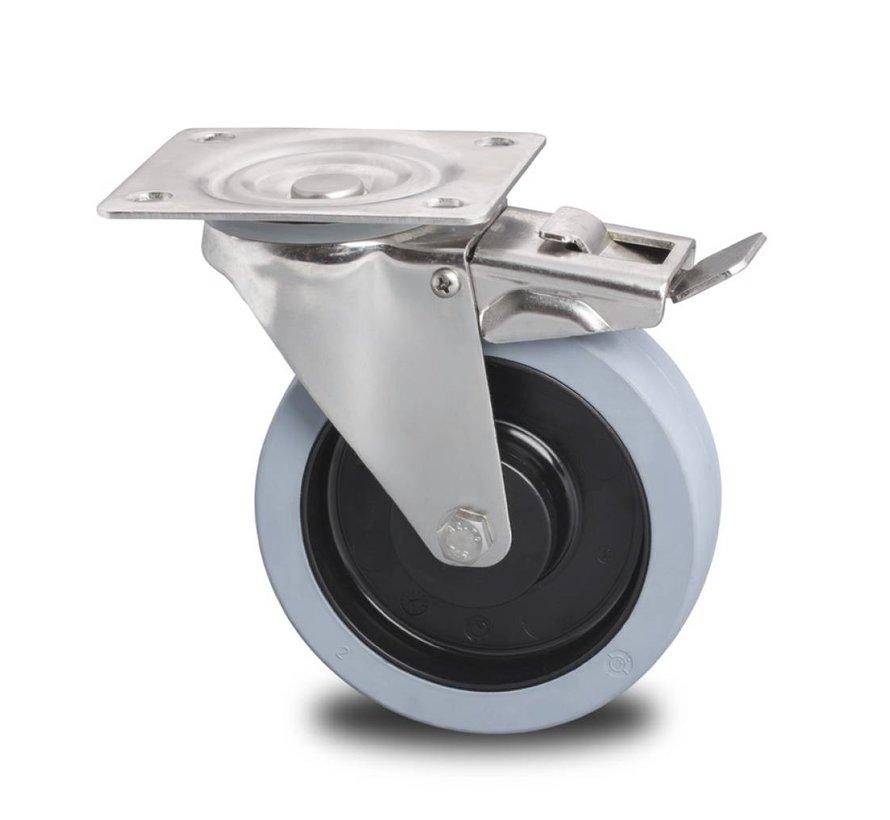 de acero inoxidable rueda giratoria con freno falta acero Inoxidable chapa, , gomma termoplastica grigia antitraccia, cojinete de bolas de precisión acero Inoxidable, Rueda-Ø 200mm, 400KG
