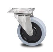 drejelig hjul , Ø 200mm, grå termoplastisk gummi afsmitningsfri, 400KG