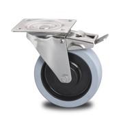 rueda giratoria con freno, Ø 160mm, gomma termoplastica grigia antitraccia, 300KG