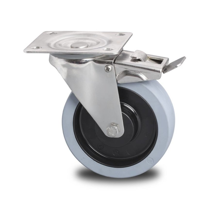 stainless steel swivel castor with brake from stainless steel pressed, , elastic-tyre non-marking, 2-RS precision ball bearing, Wheel-Ø 160mm, 300KG