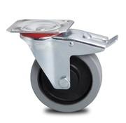 swivel castor with brake, Ø 200mm, elastic-tyre non-marking, 400KG