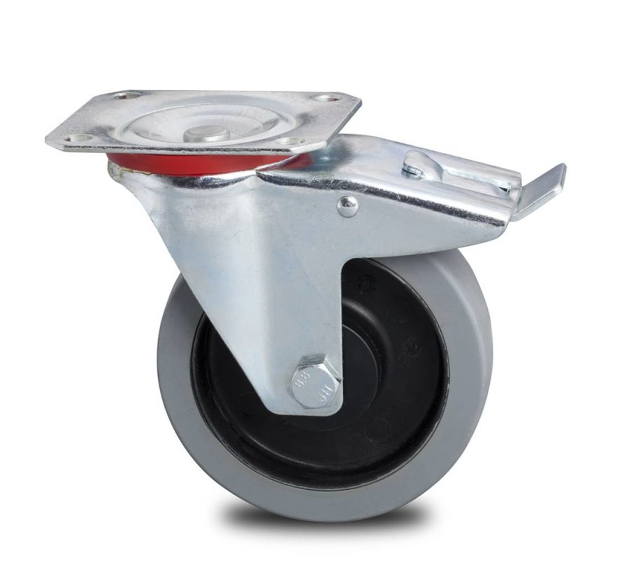 industrial swivel castor with brake from pressed steel, , elastic-tyre non-marking, precision ball bearing, Wheel-Ø 200mm, 400KG