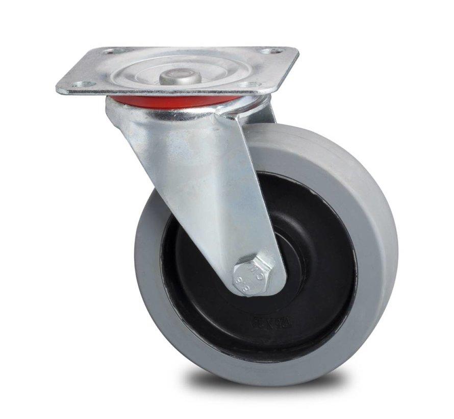 industrial swivel castor from pressed steel, , elastic-tyre non-marking, precision ball bearing, Wheel-Ø 200mm, 400KG