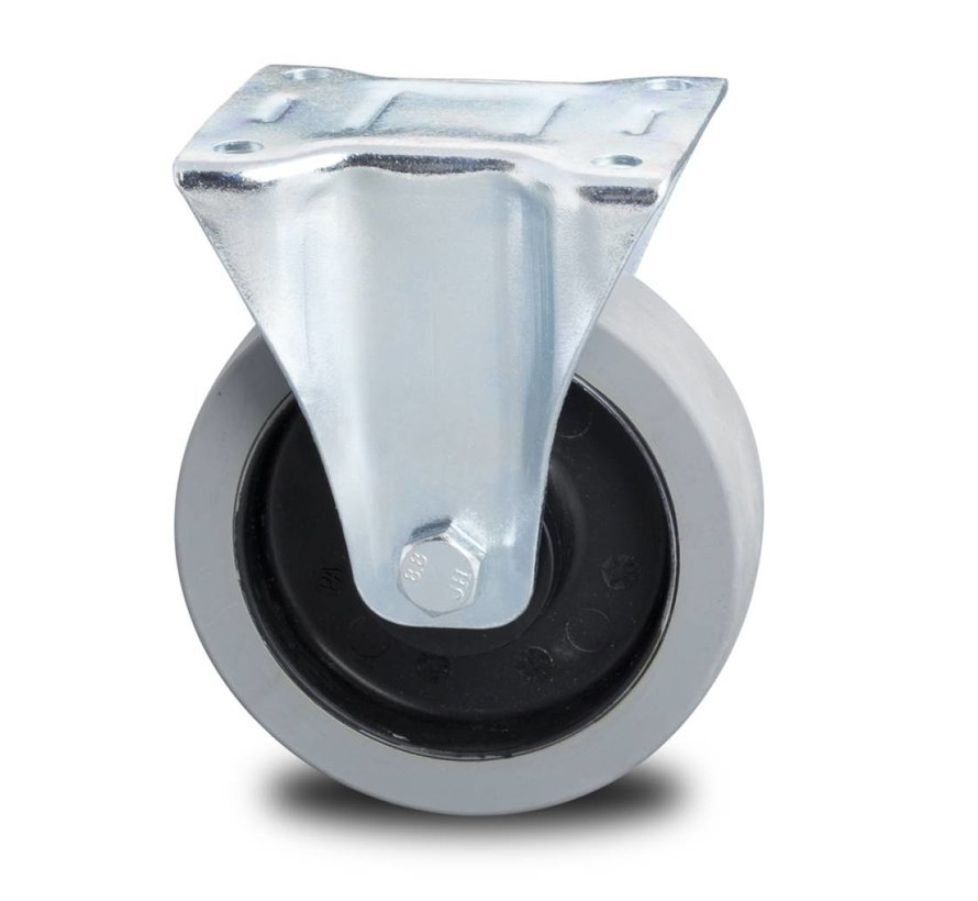 Zestawy kołowe transportowe kółka w obudowach stałych z tłoczonej blachy stalowej, , termoplastyczna guma szara, niebrudząca, Precyzyjne łożysko kulkowe, koła / rolki-Ø160mm, 300KG