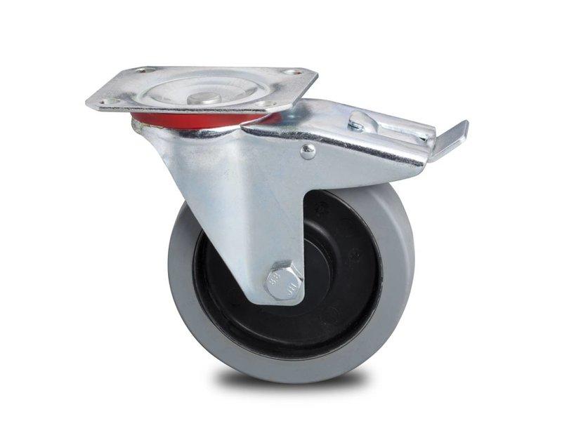 Transporthjul drejelig hjul  med bremse af Stål, , grå termoplastisk gummi afsmitningsfri, kugleleje, Hjul-Ø 160mm, 300KG