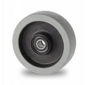 Hjul, Ø 160mm, grå termoplastisk gummi afsmitningsfri, 300KG