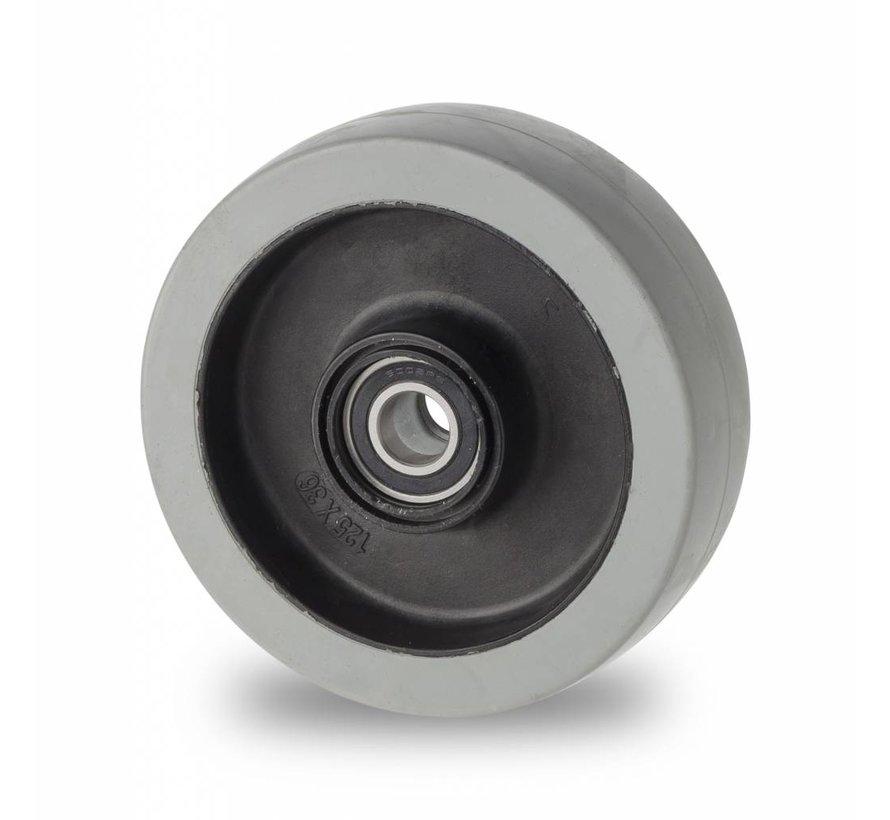 roulettes industrielles roue de caoutchouc élastique non tachant, roulements à billes de précision acier inoxydable, Roue-Ø 125mm, 200KG
