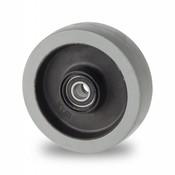 Hjul, Ø 100mm, grå termoplastisk gummi afsmitningsfri, 150KG