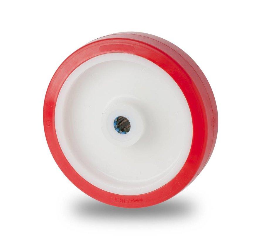 de acero inoxidable rueda falta poliuretano inyectado, cojinete de rodillos acero Inoxidable, Rueda-Ø 150mm, 650KG