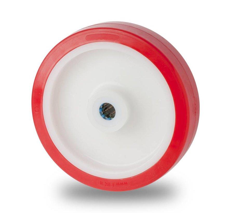 Inox / stal nierdzewna AISI 304 Koła z wtryskiwanego poliuretanu, łożysko rolkowe stali kwasoodpornej, koła / rolki-Ø125mm, 400KG