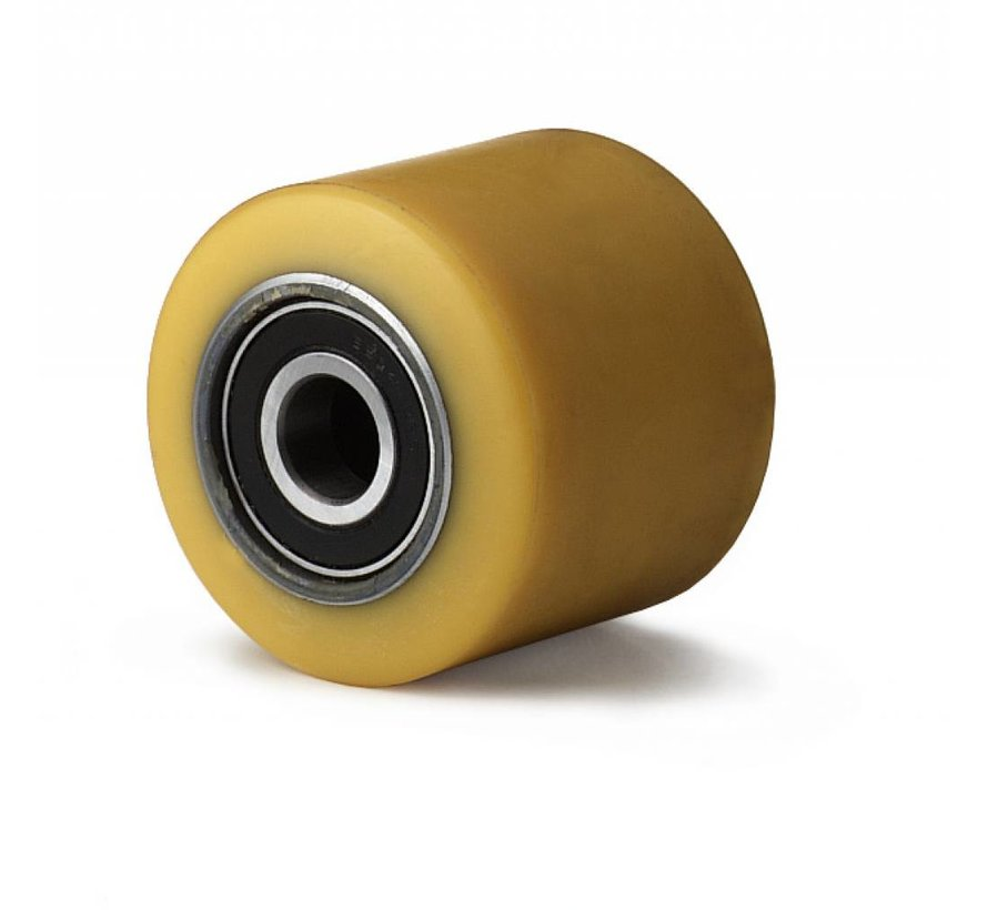 pallet truck wheel from vulcanized polyurethane tread, precision ball bearing, Wheel-Ø 82mm, 800KG