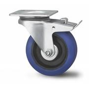 rueda giratoria con freno, Ø 100mm, goma elástica, 160KG