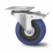 drejelig hjul  med bremse, Ø 125mm, elastisk gummi, 180KG