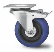 drejelig hjul  med bremse, Ø 100mm, elastisk gummi, 160KG