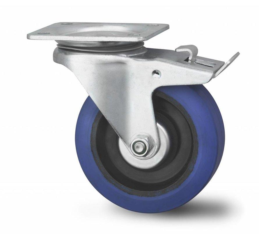 industrial swivel castor with brake from pressed hard steel, plate fitting, elastic-tyre, , Wheel-Ø 100mm, 160KG