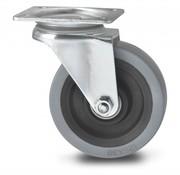 rueda giratoria, Ø 125mm, goma elástica, 200KG