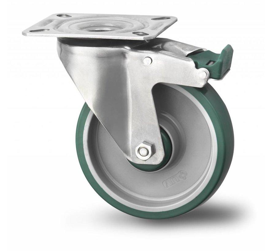 de acero inoxidable rueda giratoria con freno falta acero Inoxidable chapa, pletina de fijación, poliuretano inyectado, buje liso, Rueda-Ø 200mm, 300KG