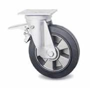 swivel castor with brake, Ø 200mm, vulcanized elastic rubber tires, 400KG