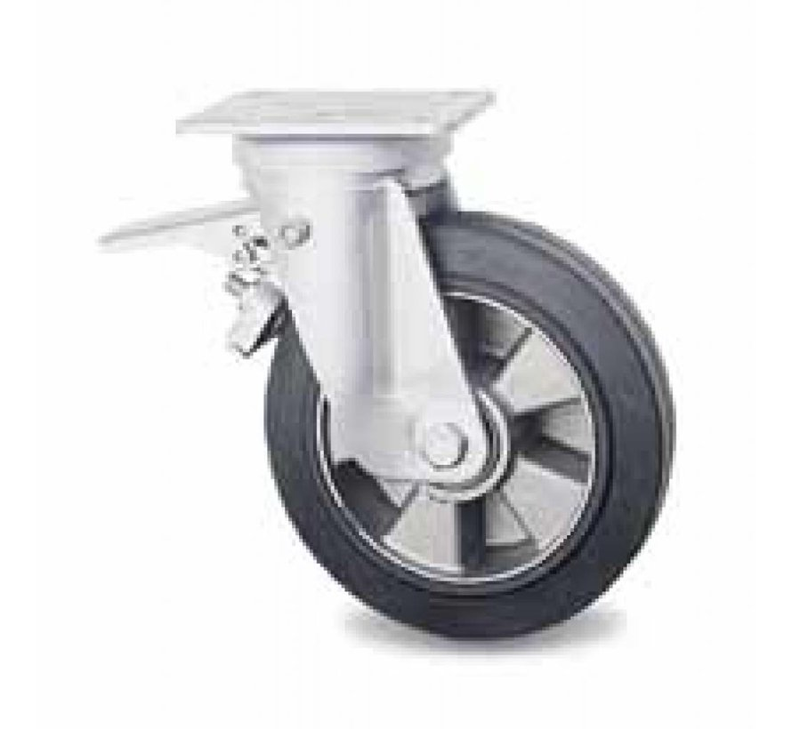 industrial swivel castor with brake from pressed hard steel, plate fitting, vulcanized elastic rubber tires, precision ball bearing, Wheel-Ø 200mm, 400KG