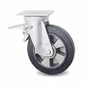 drejelig hjul  med bremse, Ø 125mm, vulkaniseret gummi elastisk dæk, 250KG