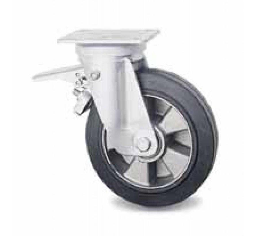 rodas industriais Rodízio Giratório con travão desde Pressionado aço duro,  placa de fixação, goma termoplástica  elástica, Rolamento de Esferas, Roda-Ø 160mm, 300KG