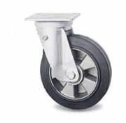 swivel castor, Ø 200mm, vulcanized elastic rubber tires, 400KG