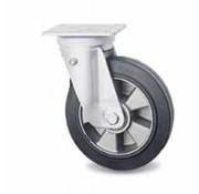 drejelig hjul , Ø 200mm, vulkaniseret gummi elastisk dæk, 400KG