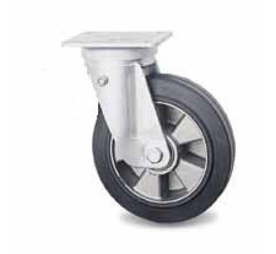 Ruedas para transporte industrial rueda giratoria falta de chapa de acero duro, pletina de fijación, goma vulcanizada elástica, cojinete de bolas de precisión, Rueda-Ø 200mm, 400KG