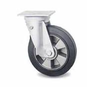 drejelig hjul , Ø 125mm, vulkaniseret gummi elastisk dæk, 250KG
