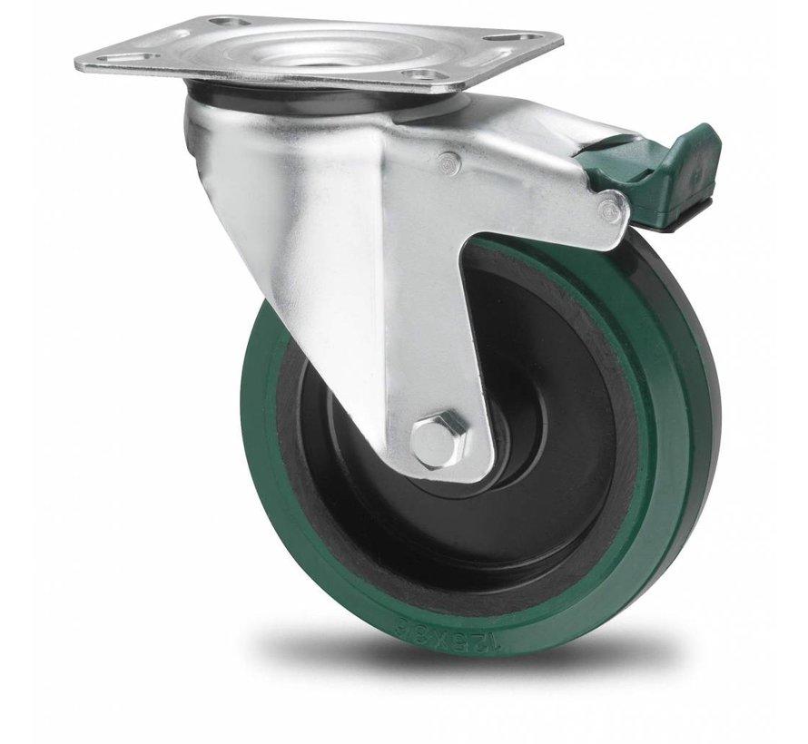 rodas industriais Rodízio Giratório con travão desde chapa de aço,  placa de fixação, goma termoplástica  elástica, Rolamento de Esferas, Roda-Ø 200mm, 300KG
