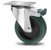 drejelig hjul  med bremse, Ø 100mm, vulkaniseret gummi elastisk dæk, 150KG