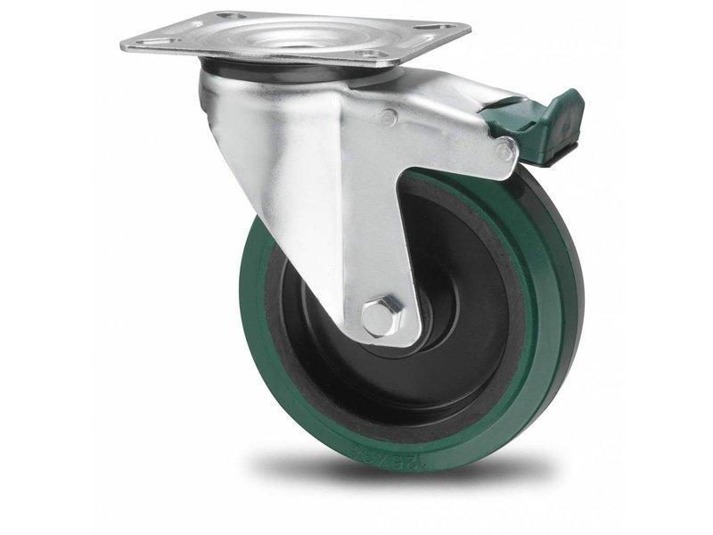 Transporthjul drejelig hjul  med bremse af Stål, pladebefæstigelse, vulkaniseret gummi elastisk dæk, kugleleje, Hjul-Ø 100mm, 150KG