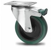rueda giratoria con freno, Ø 125mm, goma vulcanizada elástica, 200KG