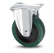 Fast hjul, Ø 100mm, vulkaniseret gummi elastisk dæk, 150KG