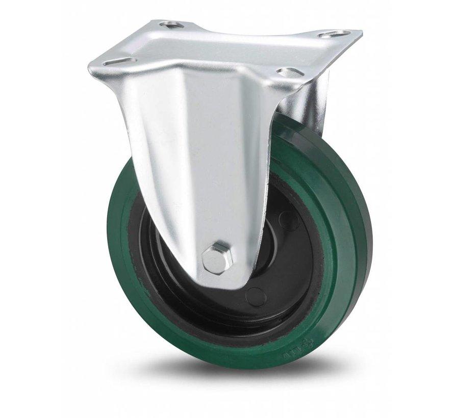 roulettes industrielles roulette fixe de acier embouti, fixation à platine, caoutchouc vulcanisé élastique, roulements à billes de précision, Roue-Ø 125mm, 200KG