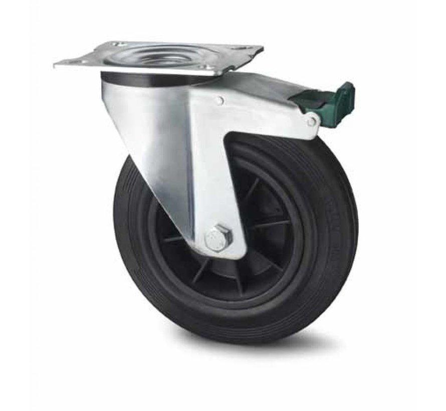 industrial swivel castor with brake from pressed steel, plate fitting, rubber, black, roller bearing, Wheel-Ø 100mm, 80KG