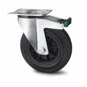 drejelig hjul  med bremse, Ø 200mm, Massiv sort gummi, 230KG
