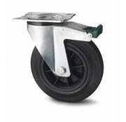 rueda giratoria con freno, Ø 80mm, goma negra, 65KG