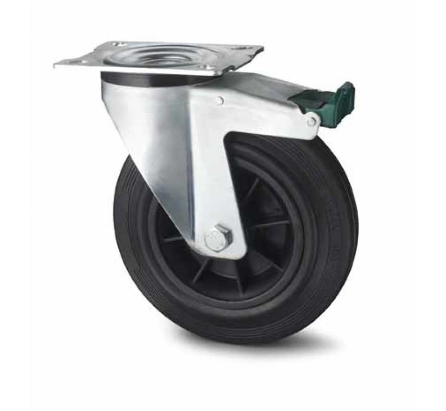 industrial swivel castor with brake from pressed steel, plate fitting, rubber, black, roller bearing, Wheel-Ø 80mm, 65KG