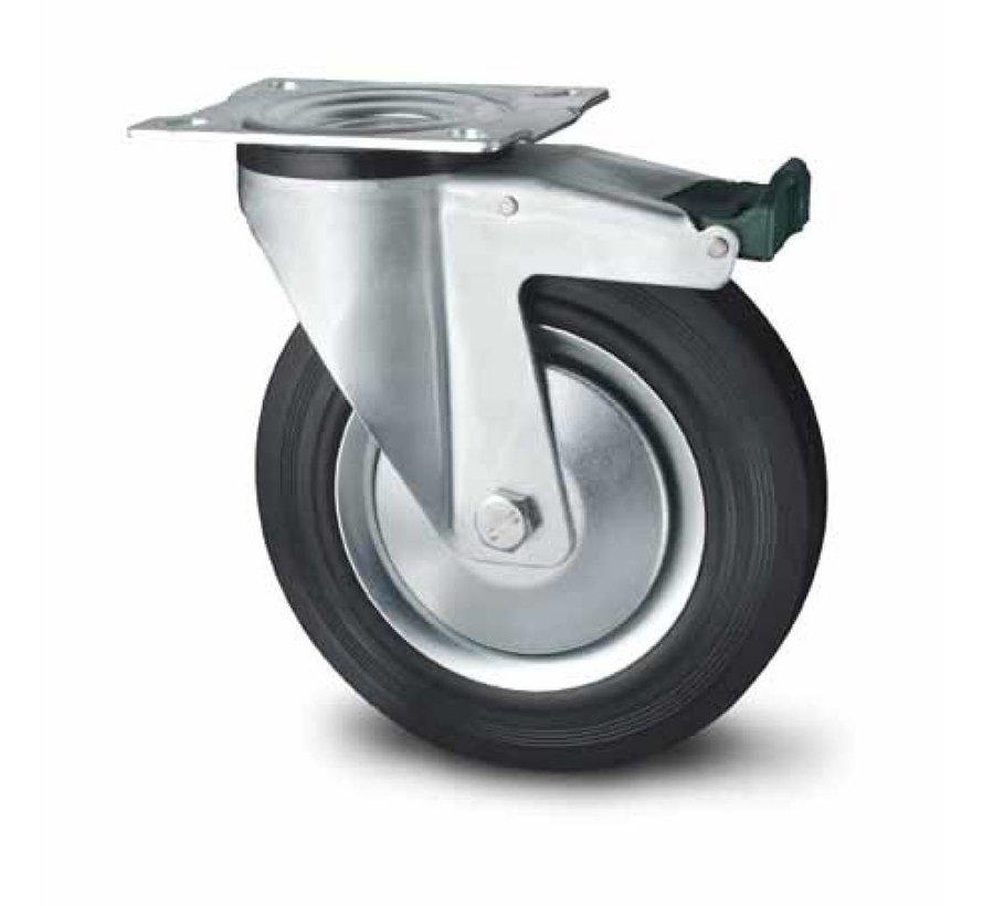 industrial swivel castor with brake from pressed steel, plate fitting, rubber, black, roller bearing, Wheel-Ø 200mm, 230KG