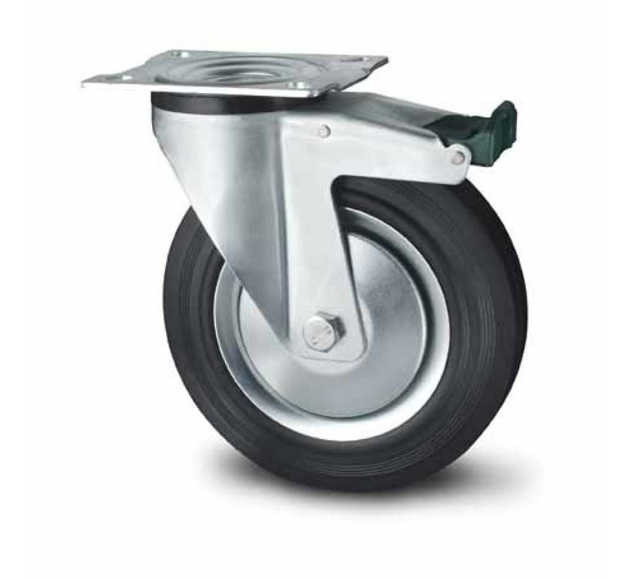Transporthjul drejelig hjul  med bremse af Stål, pladebefæstigelse, Massiv sort gummi, rulleleje, Hjul-Ø 160mm, 180KG