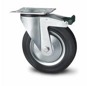 drejelig hjul  med bremse, Ø 125mm, Massiv sort gummi, 130KG