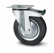 swivel castor with brake, Ø 80mm, rubber, black, 65KG