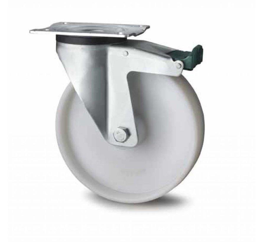 industrial swivel castor with brake from pressed steel, plate fitting, fully nylon (PA6) wheel, roller bearing, Wheel-Ø 200mm, 300KG