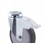 drejelig hjul  med bremse, Ø 125mm, grå termoplastisk gummi afsmitningsfri, 100KG