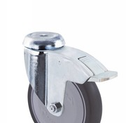 swivel castor with brake, Ø 125mm, thermoplastic rubber gray non-marking, 100KG