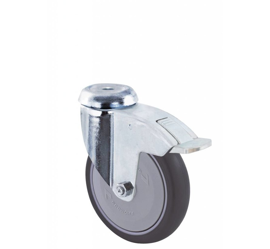 Ruedas para colectividades rueda giratoria con freno falta chapa de acero, agujero pasante, goma termoplástica gris no deja huella, cojinete de bolas de precisión central, Rueda-Ø 125mm, 100KG