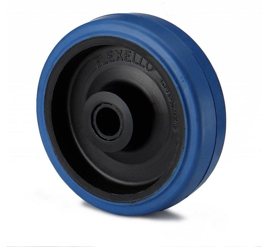 industrial wheel from elastic-tyre, roller bearing, Wheel-Ø 125mm, 180KG