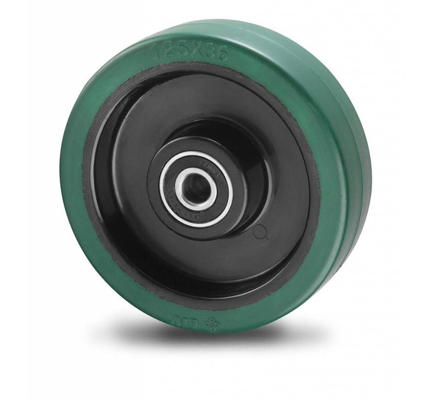 rodas industriais roda desde goma termoplástica  elástica, Rolamento de Esferas, Roda-Ø 200mm, 400KG